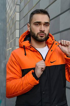 Парка Nike Зимняя мужская оранжевая  черная куртка найк длинная теплая, фото 3