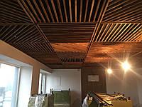 Подвесной потолок деревянный, реечный, грильято