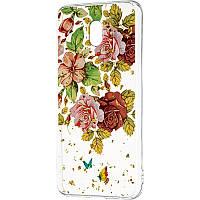 Чехол силиконовый Deep Shine Flowers для Xiaomi Redmi 8a Rose