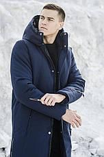 Мужская куртка-пальто зимняя 'Champion' Pobedov (синяя), фото 3