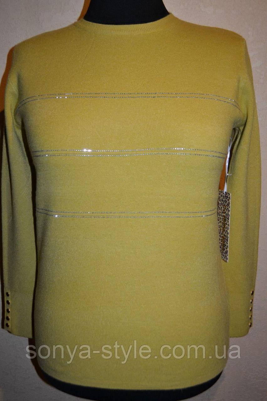 Женская кофта однотонная с полосками из стразов    больших размеров отличного качества