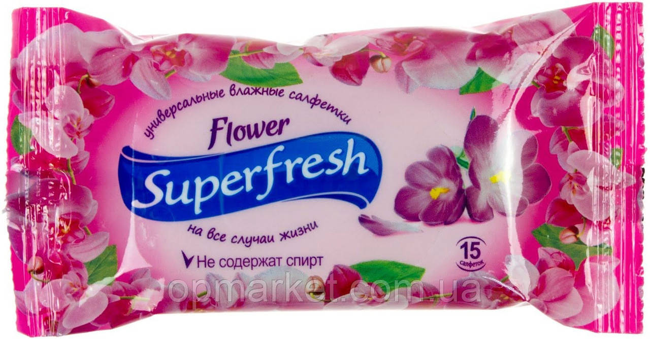 Серветки Вологі Універсальні Для Рук Супер Фреш Super Flower Квіти 15 шт