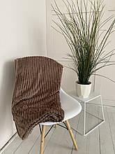Плед теплий, м'який плюшевий матеріал у смужку велсофт Original blanket євро 200*230см Кава з молоком