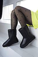 Высокие комфортные угги UGG Black для девушек Женская зимняя обувь УГГи черного цвета.