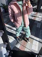 Женская объемная демисезонная куртка пудра