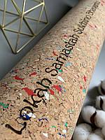 """Коврик для йоги и медитаций пробковый цветная точка, Подарок для йога """"Мантра"""" еко мат"""