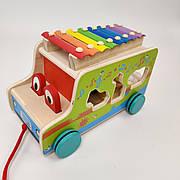 Деревянная развивающая игрушка игра Машинка-каталка, ксилофон, сортер