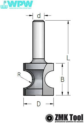 Фреза WPW для изготовления штапа R=5,2 S=8 D=22,2x19х51, фото 2