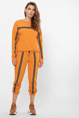 Модный женский спортивный костюм горчичный