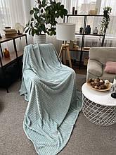 Теплий Плед плюшевий м'які матеріал у смужку велсофт Original blanket євро 200*230см Бірюзовий