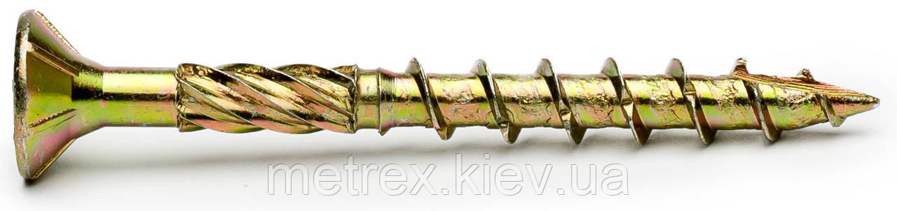 Шуруп конструкционный 6х120 мм. типа Spax по дереву c потайной головкой, желтый цинк