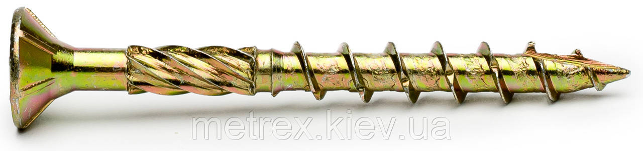 Шуруп конструкционный 8х140 мм. типа Spax по дереву c потайной головкой, желтый цинк