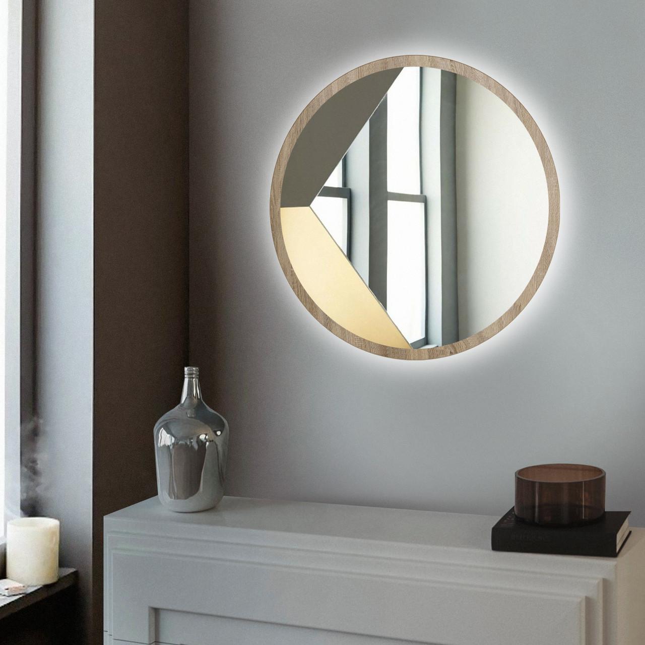 Круглое зеркало с LED подсветкой 600 мм дуб сонома