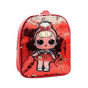 Дитячий Рюкзак з паєтками LOL Червоний