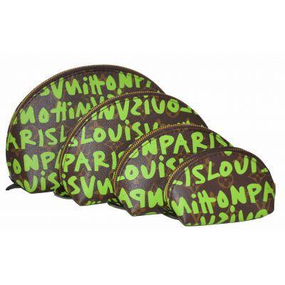 Набор косметичек Louis Vuitton графити лайм 4шт (реплика)