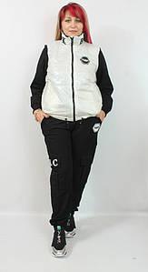 Турецкий женский теплый костюм с курткой больших размеров 50-56