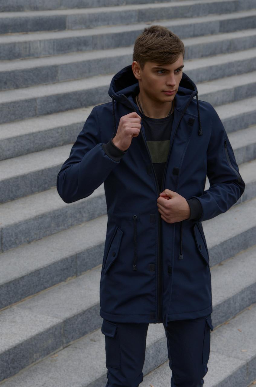 Мужской костюм синий демисезонный Intruder Softshell V2.0.Куртка мужская и штаны утепленные + Ключница