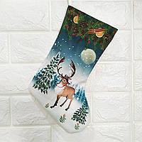 Новорічний чобіт Олень Носок для новорічних подарунків на день святого Миколая та Різдво, фото 1
