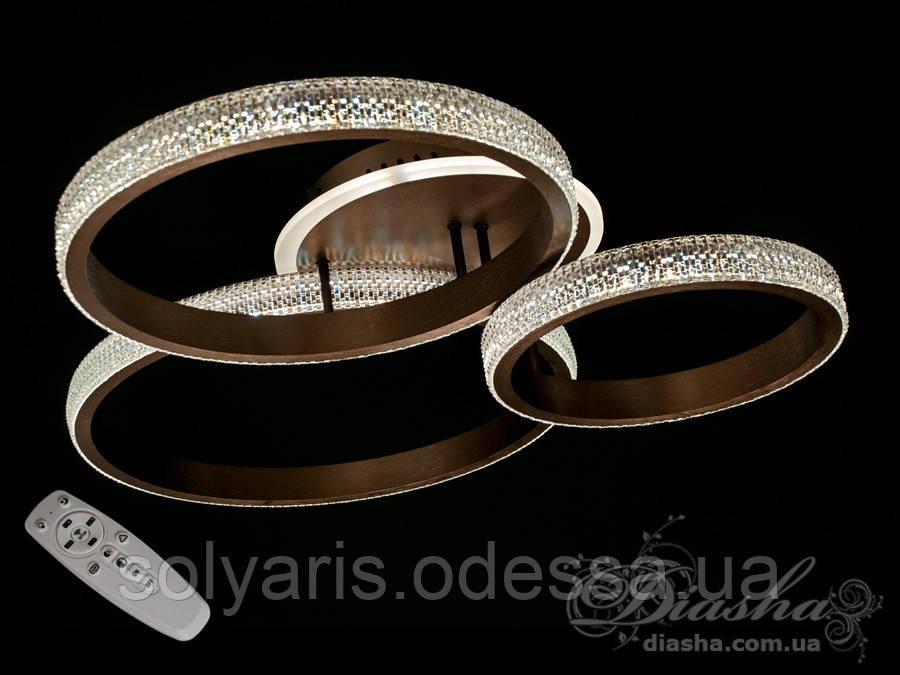 Потолочная LED-люстра с диммером и подсветкой, 115W 226009/3CF белая,коричневая,золотая