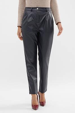 Жіночі темно-сині штани з екошкіри на флісі