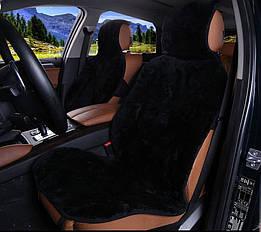 Накидка на сиденье автомобиля из натурального меха овчины (мутона) черный