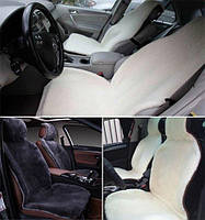 Комплект накидок на передние сиденье автомобиля из натурального меха овчины (мутона) белый