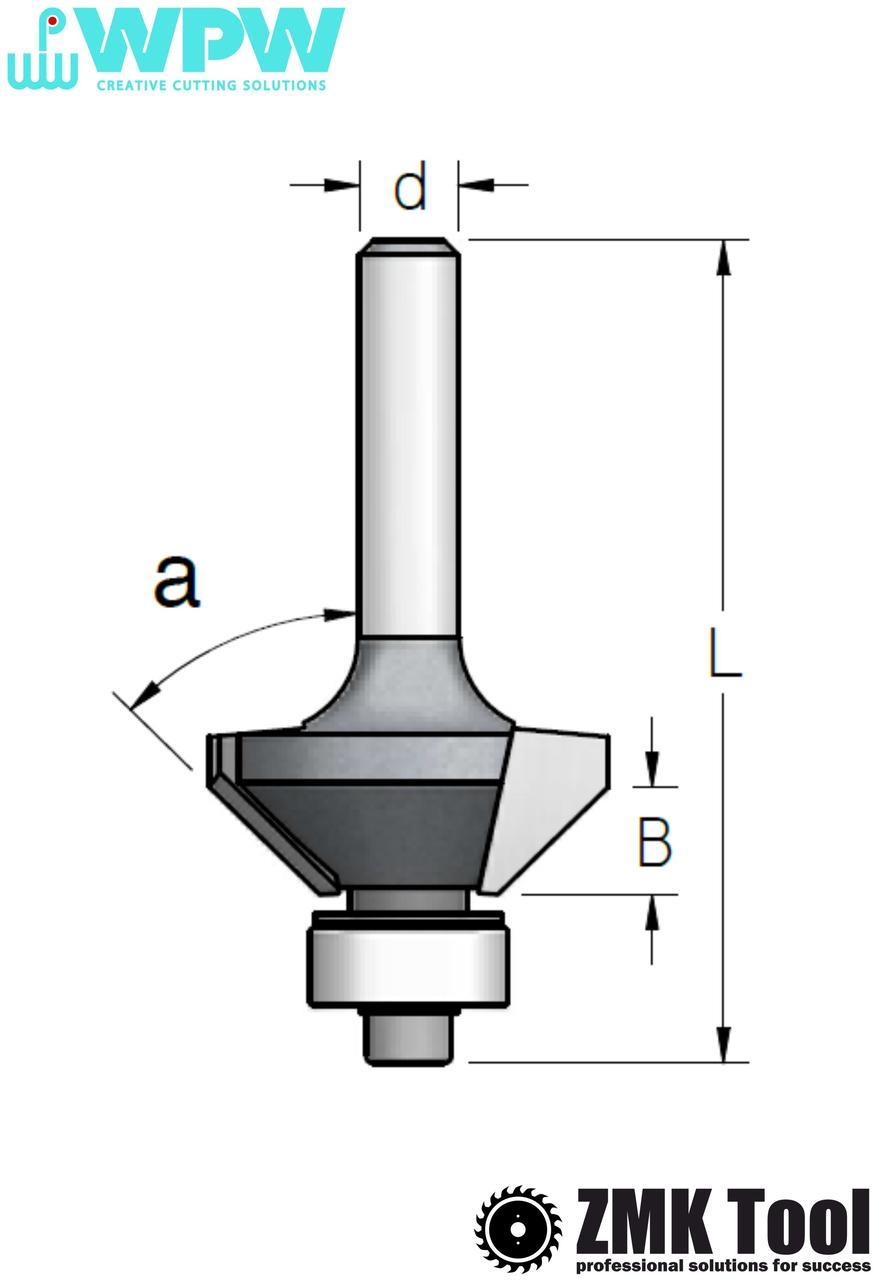 Фреза WPW для снятия фаски α=11,25° d=8 D=22,2 L=67 B=22 с нижним подшипником