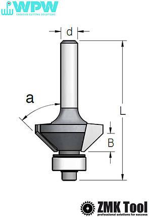 Фреза WPW для снятия фаски α=11,25° d=8 D=22,2 L=67 B=22 с нижним подшипником, фото 2