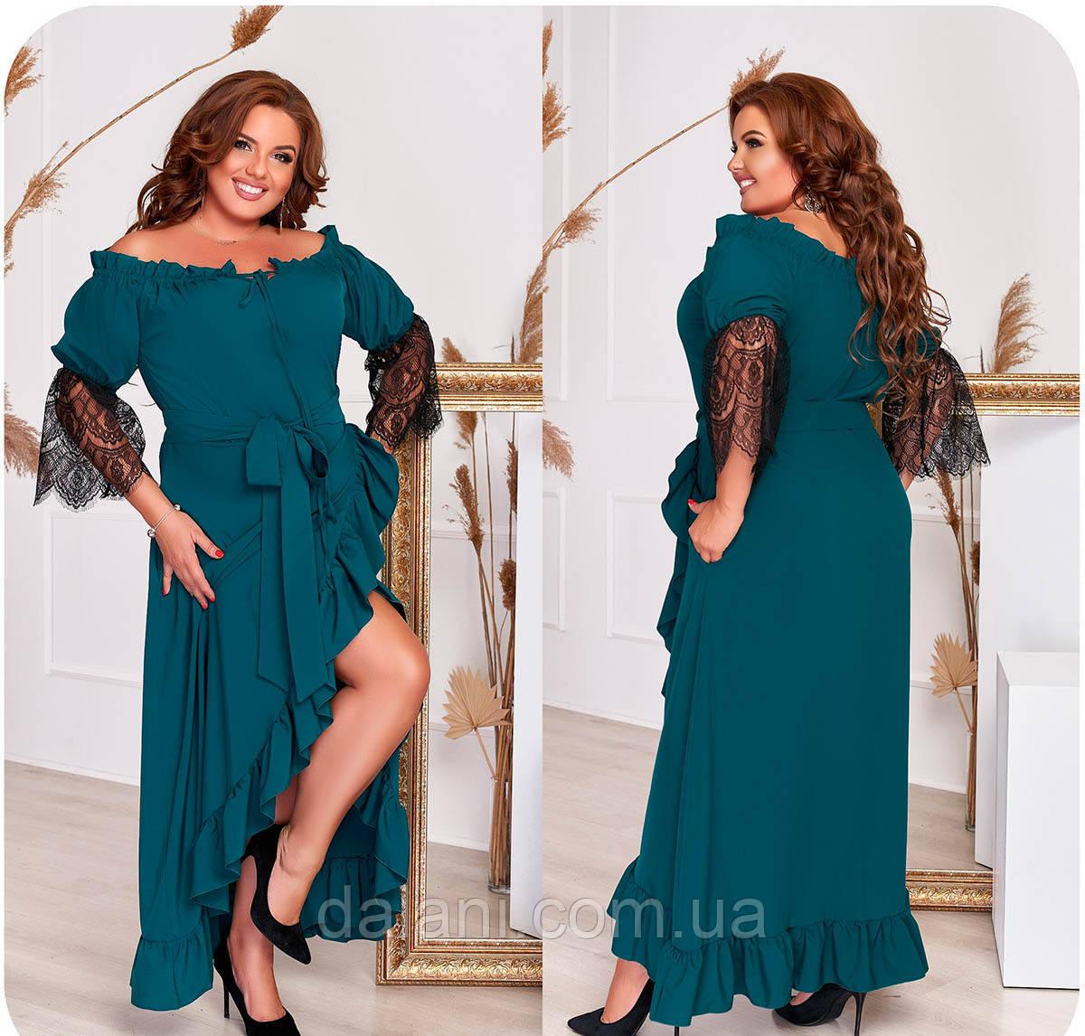 Вечірнє зелене плаття максі з відкритими плечима батал