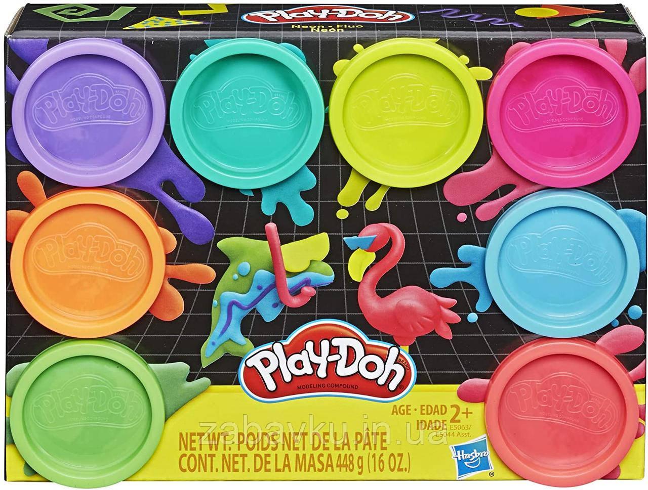 Набор пластилина плей до Неон Play Doh Набір пластиліну Плей-До Неон 8 баночок оригінал Хасбро