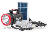 Фонарь аккумуляторный 1LED 5W + 22 SMD, выносная солнечная панель,выносные 3 led лампы LB-0104