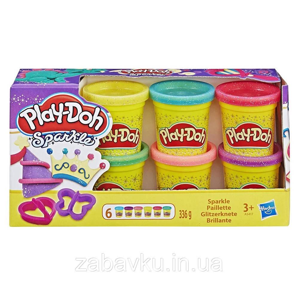 Набор пластилина плей до с блестками Play-Doh Hasbro Набір Плей-До з блискітками та глітером