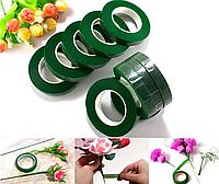 Флористична тейп-стрічка 12 мм зелена 30 метрів для рукоділля, декорування і творчості