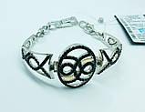Срібний родированный браслет з цирконами Флорія, фото 2