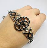 Срібний родированный браслет з цирконами Флорія, фото 4