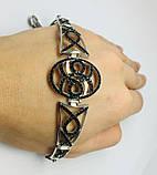 Срібний родированный браслет з цирконами Флорія, фото 5