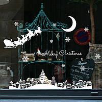 Виниловая наклейка новогодняя на окно Зимний город Декор дома на новый год, фото 1