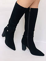 Женские осенне-весенние сапоги на каблуке. Натуральная замша. Люкс качество. Р. 35. 36. 37.39. 40, фото 4