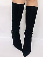 Женские осенне-весенние сапоги на каблуке. Натуральная замша. Люкс качество. Р. 35. 36. 37.39. 40, фото 6