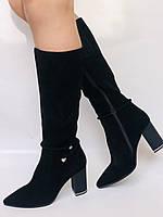 Женские осенне-весенние сапоги на каблуке. Натуральная замша. Люкс качество. Р. 35. 36. 37.39. 40, фото 3