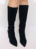 Женские осенне-весенние сапоги на каблуке. Натуральная замша. Люкс качество. Р. 35. 36. 37.39. 40, фото 8