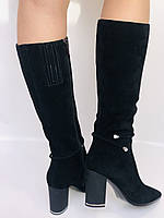 Женские осенне-весенние сапоги на каблуке. Натуральная замша. Люкс качество. Р. 35. 36. 37.39. 40, фото 5