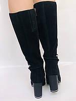 Женские осенне-весенние сапоги на каблуке. Натуральная замша. Люкс качество. Р. 35. 36. 37.39. 40, фото 7