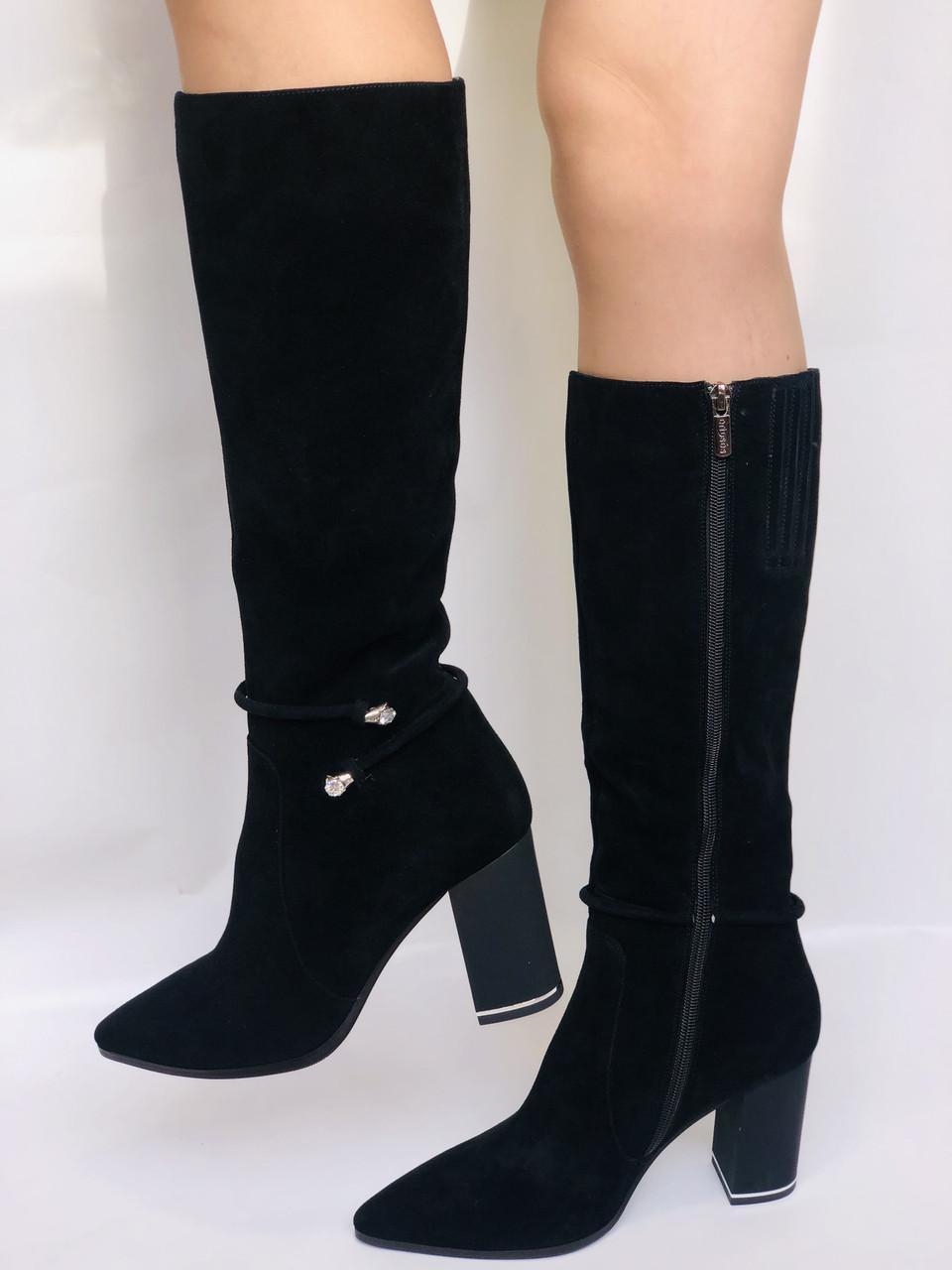 Женские осенне-весенние сапоги на каблуке. Натуральная замша. Люкс качество. Р. 35. 36. 37.39. 40
