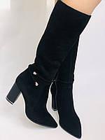 Женские осенне-весенние сапоги на каблуке. Натуральная замша. Люкс качество. Р. 35. 36. 37.39. 40, фото 10