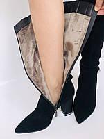 Женские осенне-весенние сапоги на каблуке. Натуральная замша. Люкс качество. Р. 35. 36. 37.39. 40, фото 9