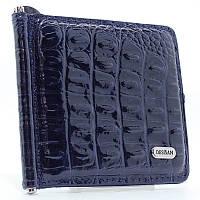 Зажим для купюр кожаный лаковый синий Desisan 208-16 Турция