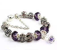 Роскошный браслет Pandora Style с фиолетовыми бусинами