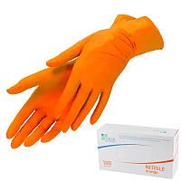Перчатки медицинские нитриловые нестерильные Polix PRO&MED S  (50 пар/уп) ORANGE