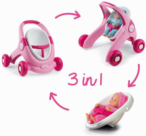 Ходунки коляска для кукол Миникис Smoby Minikiss 3 в 1 розовая 210205